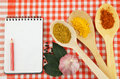 Cooking recipe concept food ingredients tablecloth Stock Photography