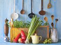 Cooking recipes food slate for kitchen utensils ingredients free copy space concept Stock Images