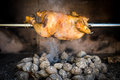 Cooking rotisserie chicken on the grill with charcoal and brique briquettes in professional steak house or barbecue restaurant Royalty Free Stock Photos
