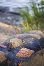 Cooking salmon over camp fire open very shallow depth of field focus is on piece of Stock Image