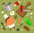 Cooking set flat hand drawn vector illustration Stock Photography