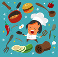Cooking set flat hand drawn vector illustration Royalty Free Stock Photo