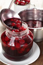 Cooking sour cherry jam Royalty Free Stock Photo