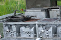 Cooking stove of army kitchen field Stock Image