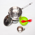 Cooking tourist equipment camping white background Stock Images
