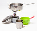 Cooking tourist equipment camping white background Stock Photo