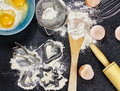 Cooking utensils flour eggs and Stock Photography