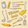 Cooking Utensils Hand Drawn Doodle. Kitchen Ware Royalty Free Stock Photo