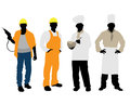 Cooks and builders silhouettes Stock Photos