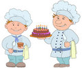 Cooks with cake and cup of drink Stock Photo