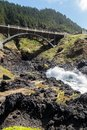 Cooks chasm as waves crash under highway at on cape perpetua the geology is evident Stock Photo