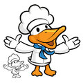 Cooks duck mascot stretched both hands to guide animal character design series Royalty Free Stock Images