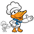 Cooks duck mascot suggests the direction bird character design series Stock Photography