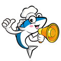 Cooks fish mascot the left hand best gesture and right hand is h holding a loudspeaker external blue colored scombridae Stock Image