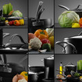 Cookware mix close up view of nice set with some vegetables on grey color back Stock Images