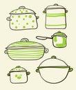 Cookware set a of retro illustration Stock Photo