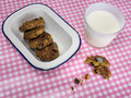 Cooky with milk and dish of cookies on check table cloth rustic home baked withcookies in an old enamel a glass a pink white Royalty Free Stock Photo