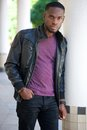 Cool african american man in black leather jacket Royalty Free Stock Photo