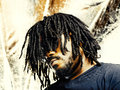 Cool african guy with dreadlocks portrait photo of a in front of abstract background Royalty Free Stock Images