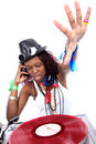 Cool afro american DJ in action Royalty Free Stock Photo