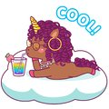 Cool afro unicorn, drinking cocktail, relaxing on a cloud