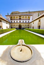 A cool Alhambra Palace fountain and pool. geanada. Stock Image