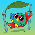 Cool bird relaxing in a hammock the shade of tropical leaf wearing trendy sunglasses and holding drink cartoon illustration Stock Image