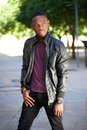 Cool black man in leather jacket Royalty Free Stock Photo