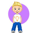 Cool boy with blonde hair in T-shirt and jeans. Vector isolated cartoon illustration
