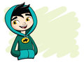 Cool boy posing in green hooded shirt vector illustration of a youg a Stock Image