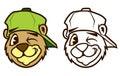 Cool brown cartoon hip hop bear character with cap.
