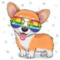 Cool Cartoon Corgi with sun glasses
