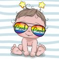 Cool Cartoon Baby with sun glasses