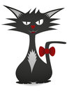 Cool cat femme fatale black illustration Stock Images