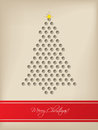 Cool christmas card with tree shaped d dots design and red stripe Royalty Free Stock Image