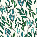 Cool colors over all leaves print seamless pattern