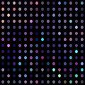 Disco mosaic pattern. Lilac azure purple dots on black background.