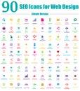 90ikony dizajn internetových stránok jednoduchý farba verzia