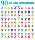 90 SEO Icons for Web Design - Circle Version Royalty Free Stock Photo