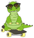 Cool crocodile with skate Royalty Free Stock Photo