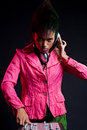 Cool dj in pink jacket Stock Photo