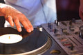 Cool dj spinning the decks Royalty Free Stock Photo