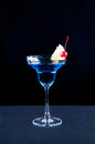 Cool drink blue cocktail with decoration in the dark Stock Image