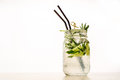 A cool drink of Mojito on the table. White backdround Royalty Free Stock Photo