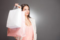 Cool elegant shopper portrait of a young brunette Royalty Free Stock Photography