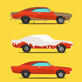 Cool  flat illustration on dirty and clean car.  wash stages process Royalty Free Stock Photo