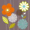 Cool floral design grey pink lime green Royalty Free Stock Photography