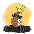 Cool fruit. Funny seasonal summer illustration with cartoon pineapple in glasses, an inscription and decorative elements. vector.