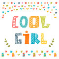 Cool girl card cute greeting card vector illustration Stock Photography