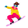 Cool girl riding a snowboard